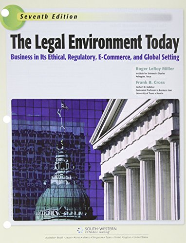 Legal Environment Today  8th 2016 9781305633605 Front Cover