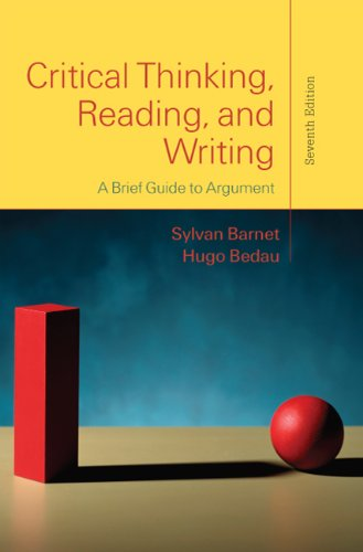 Critical Thinking, Reading, and Writing A Brief Guide to Argument 7th 2011 edition cover