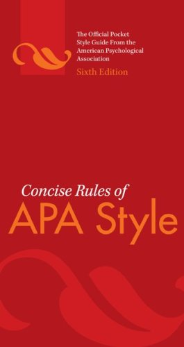 Concise Rules of APA Style  6th 2010 9781433805608 Front Cover