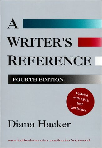 Writers Reference : 2001 APA Update 4th 1999 edition cover