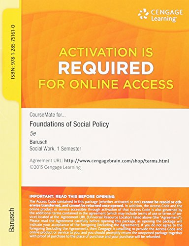 FOUNDATIONS OF SOCIAL POLICY-ACCESS     N/A edition cover