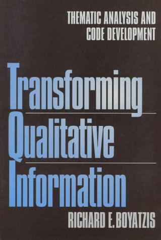 Transforming Qualitative Information Thematic Analysis and Code Development  1998 edition cover