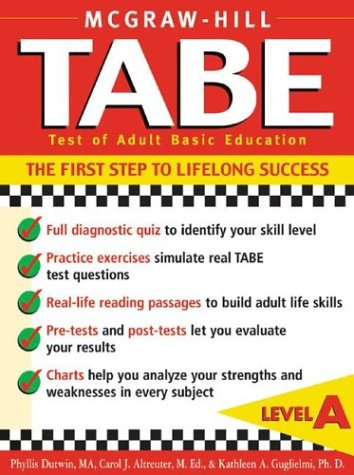 Tabe - Test of Adult Basic Education, Level A The First Step to Lifelong Success  2003 edition cover