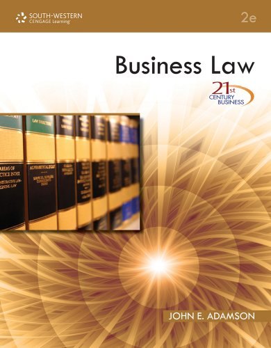 Business Law  2nd 2011 (Revised) 9780538740616 Front Cover