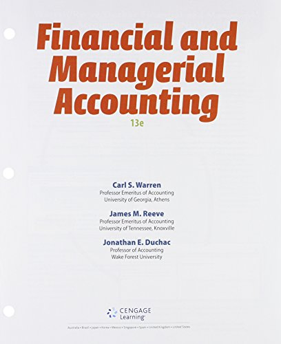 Financial & Managerial Accounting + Lms Integrated for Cengagenowv2, 2 Terms Access Card:   2015 edition cover