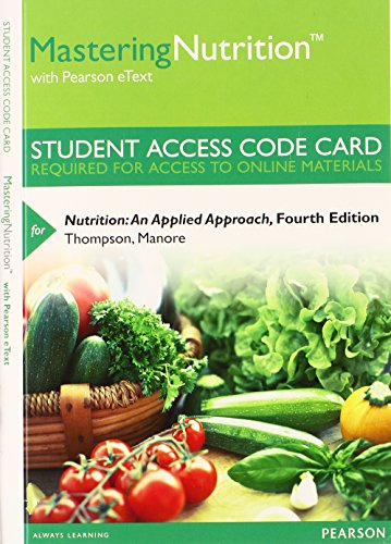 Masteringnutrition With Mydietanalysis With Pearson Etext Access Card for Nutrition: An Applied Approach  2014 edition cover