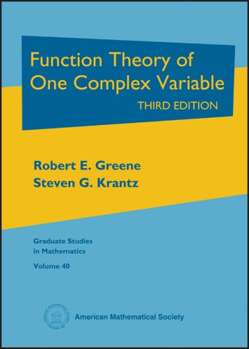 Function Theory of One Complex Variable  3rd 2006 (Revised) edition cover