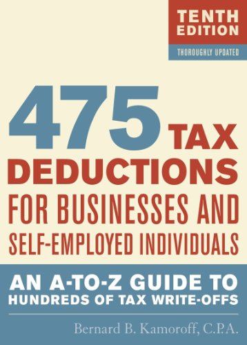475 Tax Deductions for Businesses and Self-Employed Individuals  10th 2011 9781589796621 Front Cover