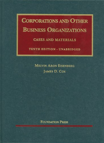 Corporations and Other Business Organizations Cases and Materials 10th 2011 (Unabridged) edition cover