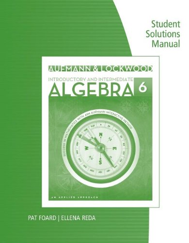 Aufmann/Lockwood's Introductory and Intermediate Algebra An Applied Approach 6th 2014 edition cover