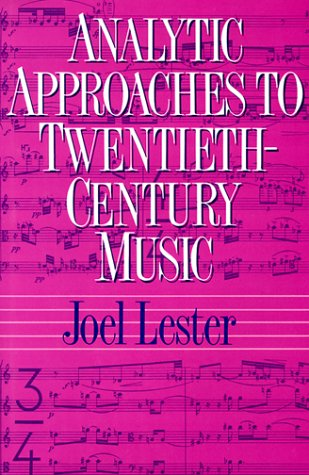 Analytical Approaches to 20th Century Music   1989 edition cover