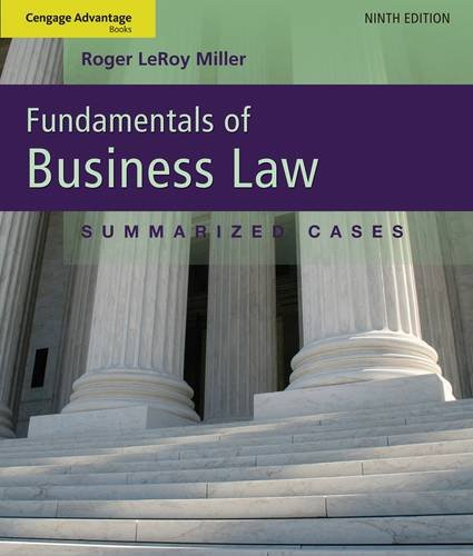 Fundamentals of Business Law Summarized Cases 9th 2013 edition cover
