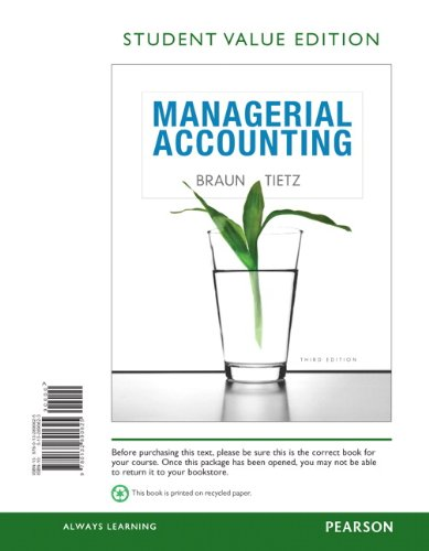Managerial Accounting, Student Value Edition  3rd 2013 edition cover
