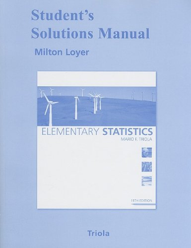 Student Solutions Manual for Elementary Statistics  11th 2010 edition cover