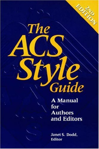 ACS Style Guide A Manual for Authors and Editors 2nd 1997 (Revised) edition cover