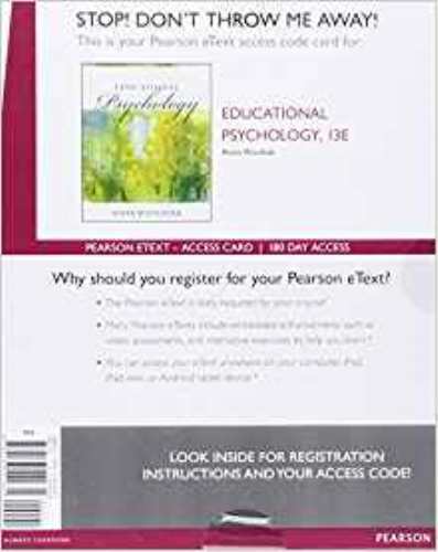 Educational Psychology, Enhanced Pearson eText -- Access Card (13th Edition) 13th 2016 edition cover