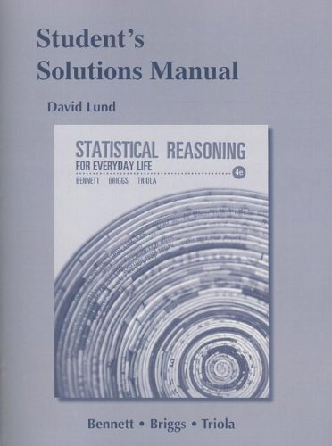 Student's Solutions Manual for Statistical Reasoning for Everyday Life  4th 2014 edition cover