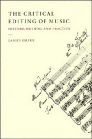 Critical Editing of Music History, Method, and Practice  1996 edition cover