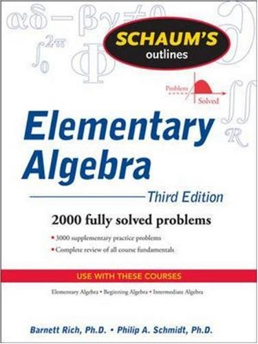 Elementary Algebra 2000 Fully Solved Problems 3rd 2009 edition cover