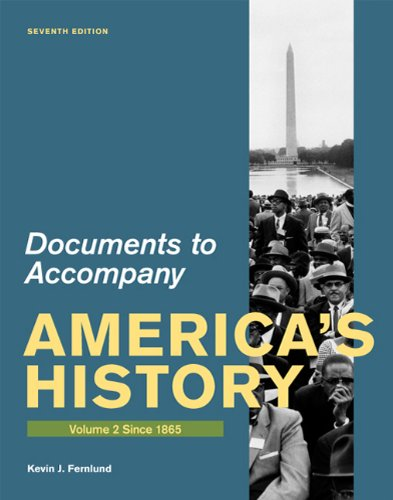 Documents for America's History Since 1865 7th 2011 edition cover
