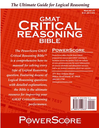 PowerScore GMAT Critical Reasoning Bible  2005 9780972129633 Front Cover