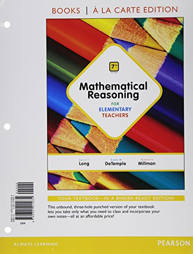 Mathematical Reasoning for Elementary Teachers, Books a la Carte Edition  7th 2015 edition cover