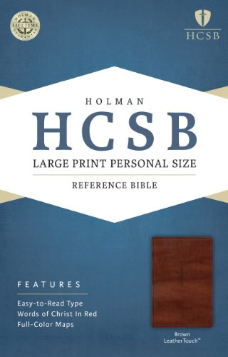 HCSB Large Print Personal Size Bible, Brown LeatherTouch   2014 edition cover