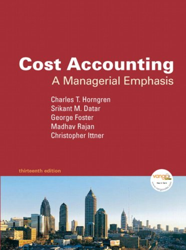 Cost Accounting A Managerial Emphasis 13th 2009 edition cover