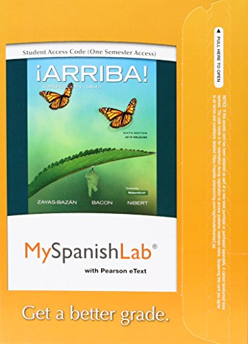 Myspanishlab With Pearson Etext for ¡arriba!: Comunicación Y Cultura, 2015 Release: One Semester  2015 edition cover