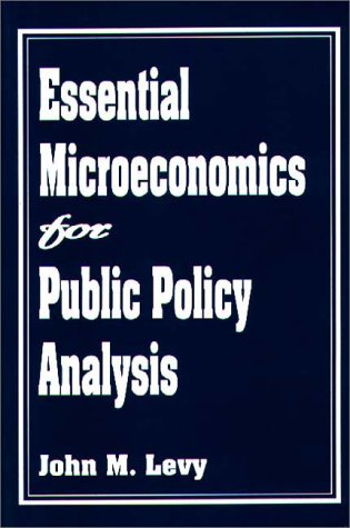Essential Microeconomics for Public Policy Analysis   1995 edition cover