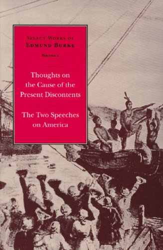 Thoughts on the Cause of the Present Discontents and the Two Speeches on America   1999 edition cover
