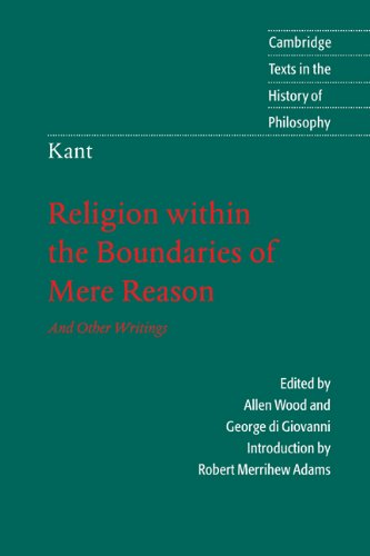 Religion Within the Boundaries of Mere Reason And Other Writings  1998 edition cover