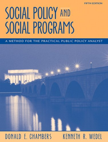 Social Policy and Social Programs A Method for the Practical Public Policy 5th 2009 edition cover