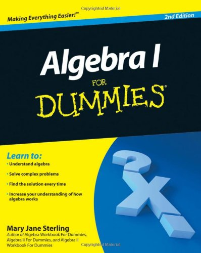 Algebra I for Dummies  2nd 2010 edition cover