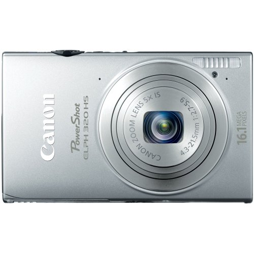 Canon PowerShot ELPH 320 HS 16.1 MP Wi-Fi Enabled CMOS Digital Camera with 5x Zoom 24mm Wide-Angle Lens with 1080p Full HD Video and 3.2-Inch Touch Panel LCD (Silver) product image