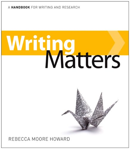Writing Matters A Handbook for Writing and Research  2010 edition cover