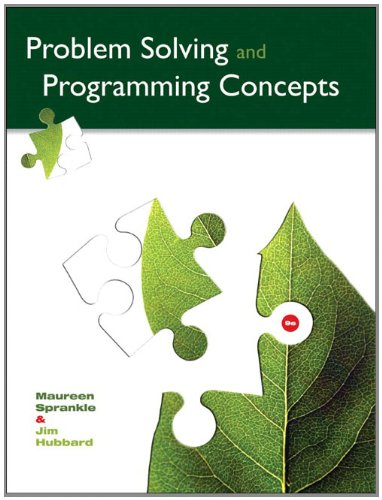 Problem Solving and Programming Concepts  9th 2012 edition cover
