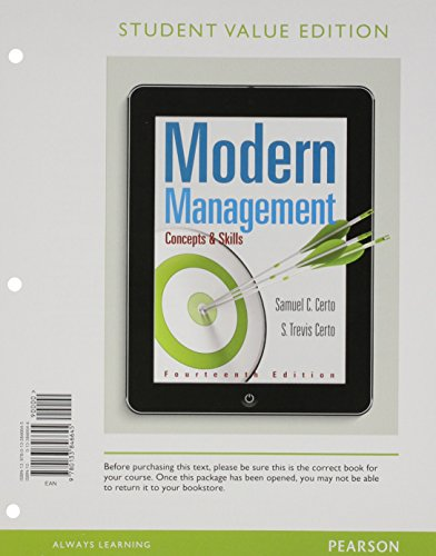 Modern Management Concepts and Skills, Student Value Edition 14th 2016 9780133846645 Front Cover