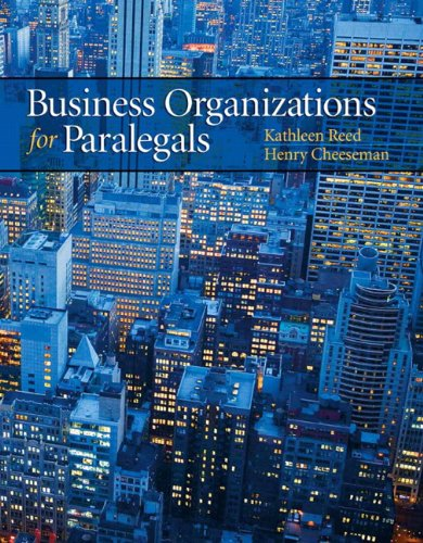 Business Organizations for Paralegals   2012 edition cover