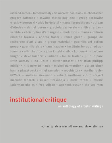 Institutional Critique An Anthology of Artists′ Writings  2011 edition cover