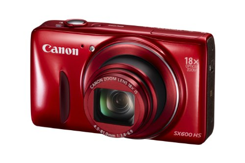 Canon PowerShot SX600 HS 16MP Digital Camera - Wi-Fi Enabled (Red) product image
