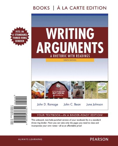 Writing Arguments A Rhetoric with Readings, Books a la Carte Edition 9th 2012 edition cover