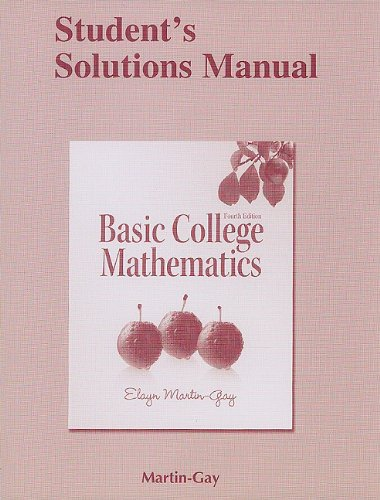 Student Solutions Manual for Basic College Mathematics  4th 2011 edition cover