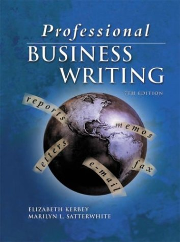 Professional Business Writing  7th 2002 9780078211652 Front Cover