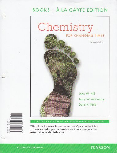 Books a la Carte for Chemistry for Changing Times  13th 2013 edition cover