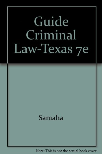 Guide to Criminal Law for Texas 2nd 2002 9780534563653 Front Cover