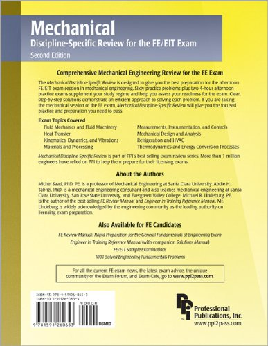Mechanical Discipline-Specific Review for the FE/EIT Exam  2nd 2006 edition cover