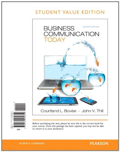Business Communication Today, Student Value Edition  11th 2012 edition cover