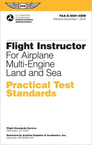 Flight Instructor Practical Test Standards for Airplane Multi-Engine Land and Sea Faa-S-8081-6d N/A edition cover