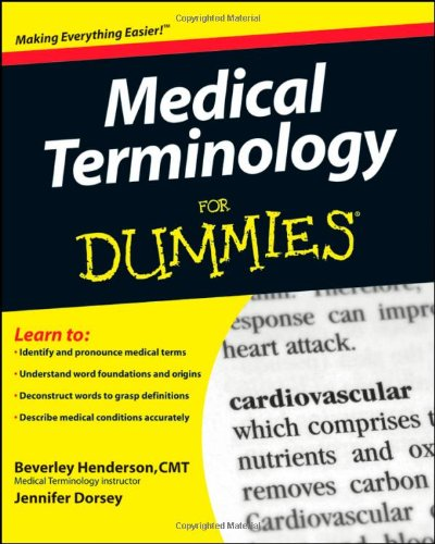 Medical Terminology for Dummies   2009 edition cover